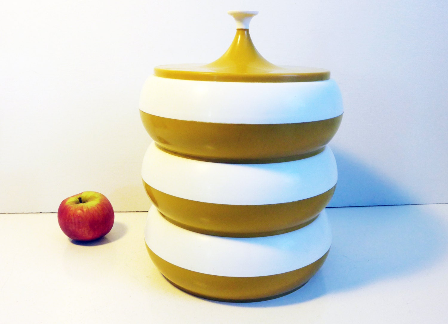 Yellow Canister Sets Kitchen Mid Century Stacking Canister Set Stacking White Mustard Gold