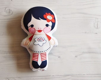 Hand-embroidered Pillow Doll Softie