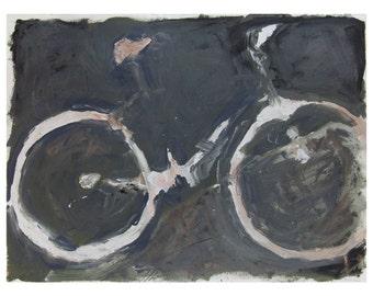 "Fine art prints, oil painting by Zachary Roberts ""Impression of a Bike"", black and white wall art, bike art, bike print, abstract /292730299"