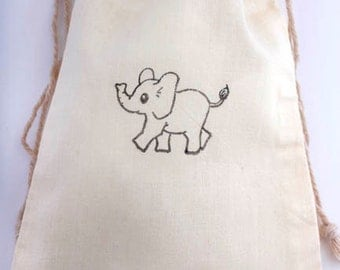 10 Elephant Favor Bags, Gift Bags for baby Shower, Elephant Birthday Party Zoo, 5 x 7