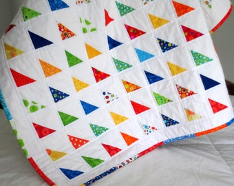 SALE!  Bright Triangles Ready to Ship Patchwork Baby Quilt--39x39