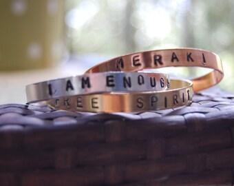 Customizable  Hand Stamped Cuff Bracelets.