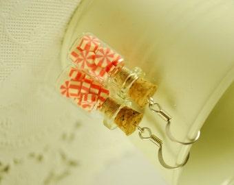 peppermint candy  jar earrings - food jewelry