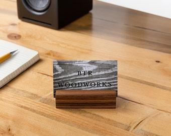 Wooden Business Card Holder Walnut (desk, business cards, card holder, paper stand, calendar stand)