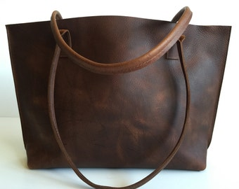 Classic Medium Brown Leather Tote