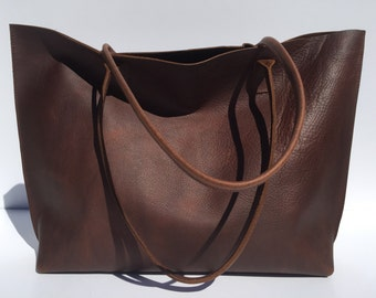 Large Premium Dark Brown Leather Tote