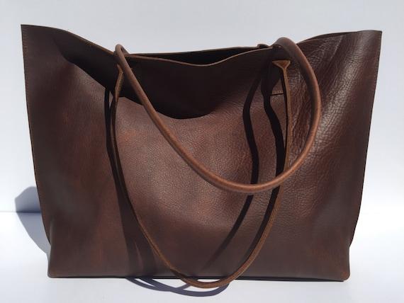 Large Premium Dark Brown Leather Tote