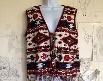 Vintage Red Brown Southwest Vest