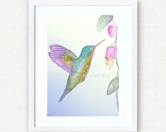 "Original watercolour of a hummingbird ""Small Hummingbird sweetness"""