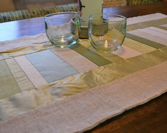 SALE! Green and Neutral Linen, Silk, and Cotton Stripped Table Runner