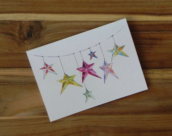 Hanging Stars Card Set, Eight blank notecards and envelopes
