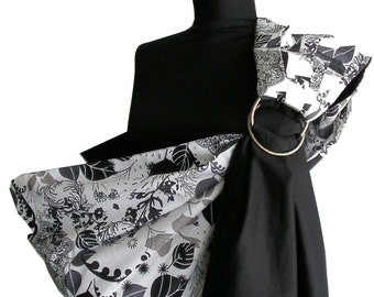 Baby Sling ,Balck baby ring sling, Baby Carrier, Reversible Baby Sling, Baby Wrap, Black baby carrier, New born gift