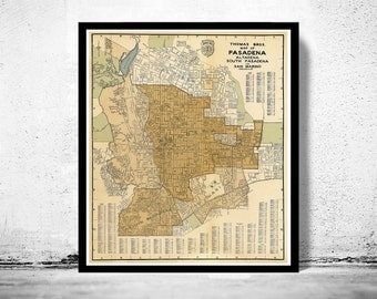 Old Map of Pasadena California