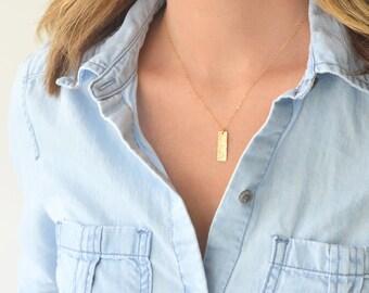 Gold Filled Hammered Tag | Gold Filled Tag Necklace | Tag Necklace | Hammered Bar Necklace | Hammered Tag Necklace | Gold Tag | Gold Bar