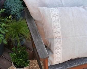Linen Pillow cover/ Natural Linen/ Linen Lace/ Living Room Accessories