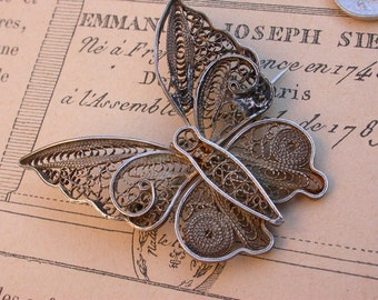 French 19th century antique sterling silver  brooch butterfuly filigree silver brooch art nouveau brroch