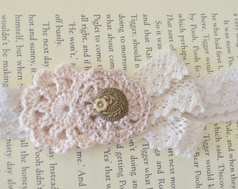 Free Shipping! Large Vintage Inspired Cream Crochet Headband with Golden Button feature on Cream Lace Elastic