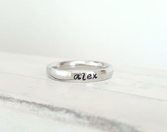 Mother's Day Jewelry name Ring 3 mm stainless steel Hand Stamped ring stackable stamped ring hypoallergenic comfort stacking ring