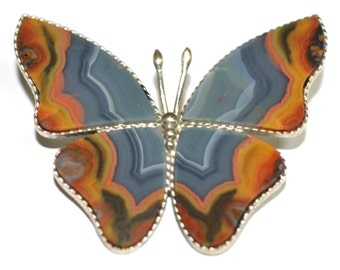 Agate Brooch Butterfly Russia Siberia