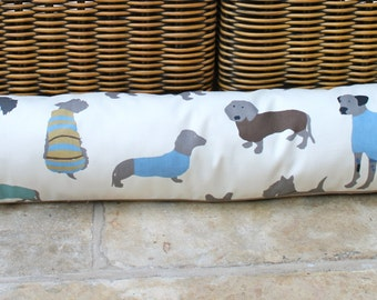 Draught excluder, removeable cover, dog, duck egg blue, cream, grey