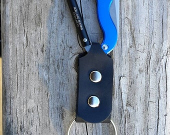Leather Key Fob with Kershaw Knife  Carabiner