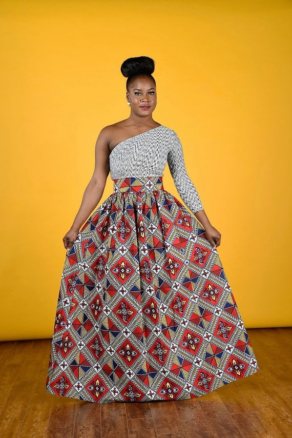 Maro African print Maxi Skirt African Clothing