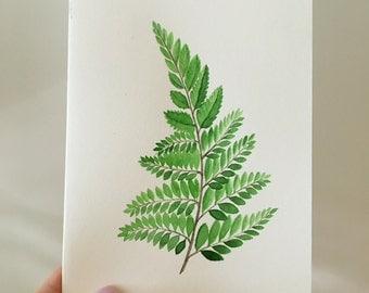 Hand painted watercolor fern, original art, archival quality