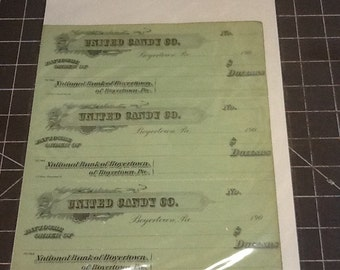 early 1900's united candy company apaer checks unused