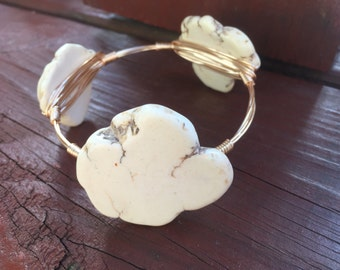 Snow White Magnesite Stone Wire Bangle Bracelet