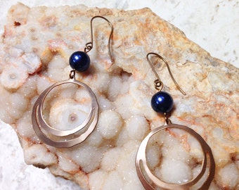 Natural Brass and Night Blue Swarovski Pearl Earrings