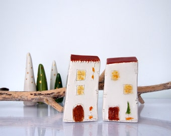 December Croatian village, set of 2 - OOAK Ceramics Minature  Architectural Set  - Handmade clay houses,   White houses with brown roofs
