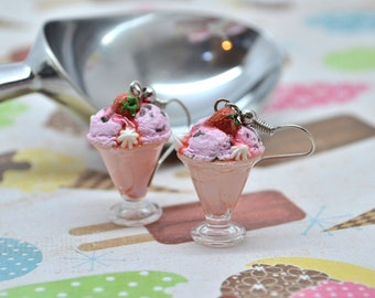 Sundae ice cream earrings,Strawberry ice cream earrings,Ice cream earrings,Polymer clay earrings,Miniature food jewelry