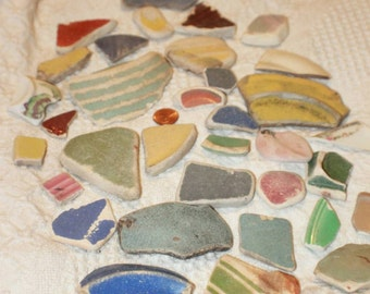 50ct Assorted Colors & Sizes 100% Genuine Ocean Tumbled Sea Glass Pottery Tiles from the Monterey Bay