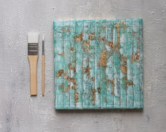 Abstract art, turquoise, blue, gold leaf, contemporary art, abstract, Modern Art, wall decor, Art Collectibles, impasto painting, mixed