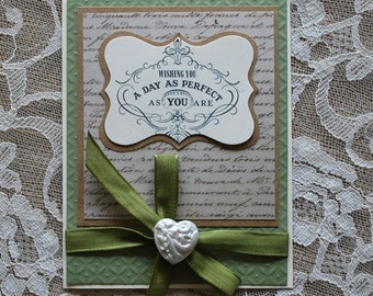 Handmade Greeting Card: Birthday, Mothers Day, Wedding, any special occasion, green