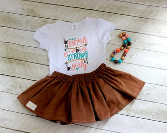 girls arrow outfit girls arrow peach teal gold brown skirt set Be Strong Be Girly shirt with skirt family pictures fall outfit little girl