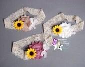 Rustic Sunflower Lace Headband - Beige, Ivory, Mauve, Flower Girl Sunflower Headband, Baby Girl Toddler Woman - SB-112