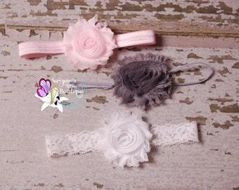 Baby Toddler Girl Woman Headband Set, Shabby Flower Headband, Light Pink Gray White - SBst-010