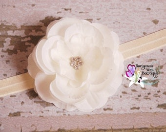 Ivory Flower Girl Headband, Silk Organza Flower Rhinestone Headband, Girl Headband, Baby Toddler Girl Woman - SB-020