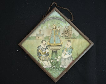 Religious antique catholic peinture of Holy Mary, Our Lady of Scherpenheuvel / Montaigu behind glass. ( 14 )