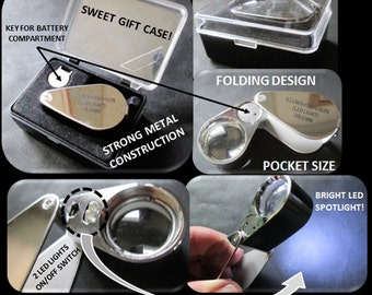 Loupe ~ Lighted ~ 10x Magnification ~ Great Price ~ Discover a whole new world in crystals! ~ Free Crystal Included!