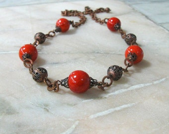 Terracotta Coral Necklace Antique Copper Beaded Chain Orange Vintage Inspired Bohemian statement necklace Ukrainian jewelry Christmas gift