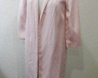 Vintage 1960s Women's Ladies Pink Linen Overcoat Jacket Coat (Size 4-6)