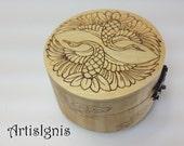 "Jewelry Box ""Japanese Crane"", Trinket box, Treasure box, Pyrographed by hand, Wood Burned box, Keepsake box, Woodburned box"