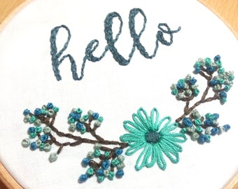 Hand Embroidery Pattern, Hello - embroidery design, Flower hand embroidery chart - Embroidery pdf by Peppermint Purple