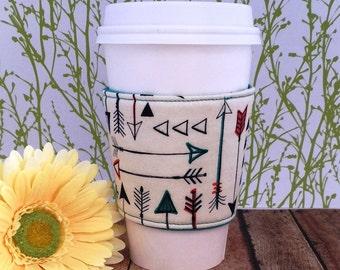 Fabric Coffee Cozy / Colorful Arrows Coffee Cozy / Arrows Coffee Cozy / Tea Cozy