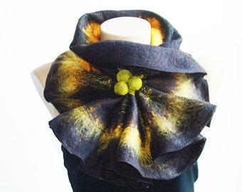 Felted Fashion Wool Scarf Neckpiece Collar. Shibori Brown & Yellow  Holiday Gift for Her
