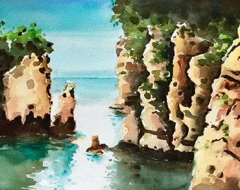 Rock formations Australia cliffs ocean watercolor original painting