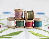 Red pink rose_emerald olive green_white blue_cotton sewing threads_wooden thread spools_set of 6_pure cotton threads_Valentines Day Party