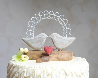 Love Bird Wedding Cake Topper,  Love Bird Cake Topper, Rustic Wedding Topper, Wood and Wire Wedding Decor
